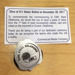 CMC Steel Commemorative Rebar From Durant Micro Mill