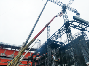 Crews construct stage for Beyonce's OTR II concert in Cleveland.
